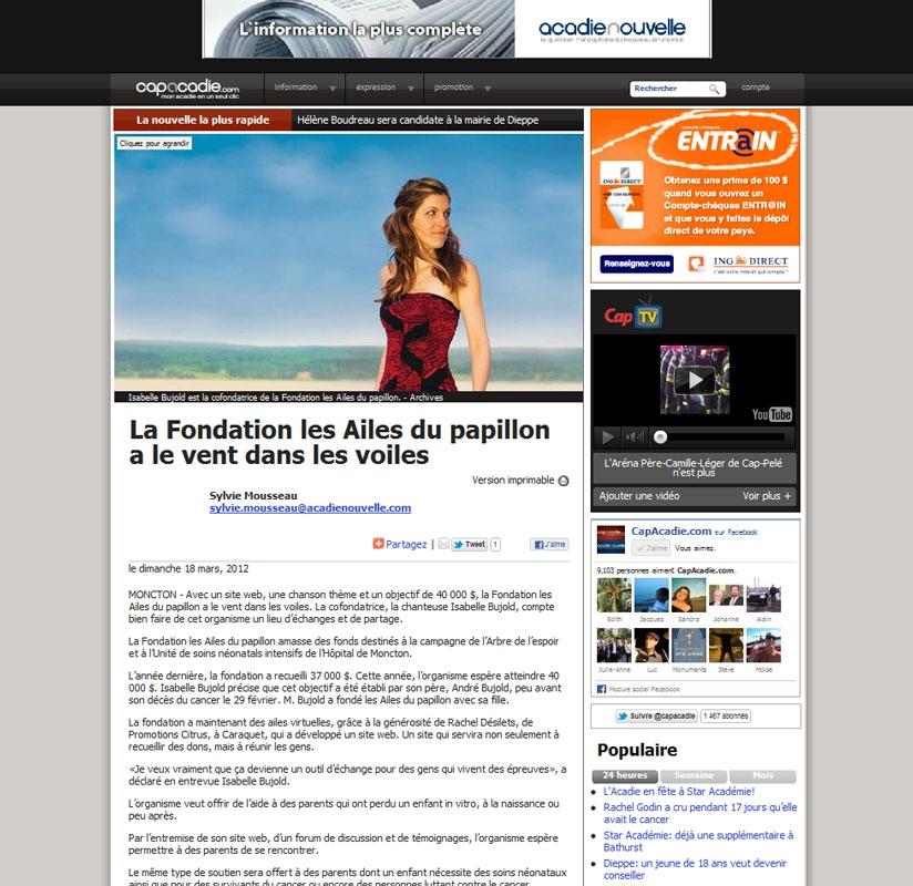 Article de Sylvie Mousseau tiré de CapAcadie.com