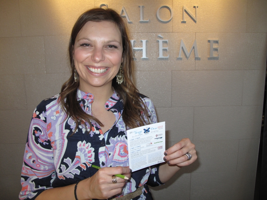 Annie Chiasson, owner of Salon Bohème in Dieppe, bought the first lottery ticket.